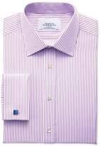 Charles Tyrwhitt Slim Fit Bengal Stripe Lilac Cotton Dress Shirt Size 15/34
