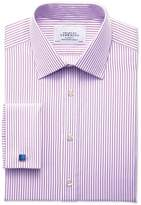 Charles Tyrwhitt Slim Fit Bengal Stripe Lilac Cotton Formal Shirt Double Cuff Size 15/34