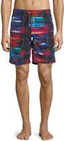 Bugatchi Thermal Palm Tree Swim Shorts