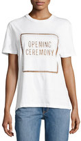 Opening Ceremony OC Box Logo Eyelet Cotton Tee, White