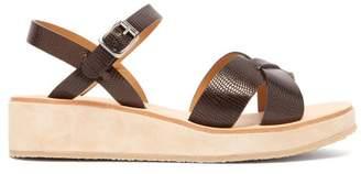 A.P.C. Originales Leather And Suede Platform Sandals - Womens - Dark Brown
