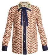 Gucci Guns-print bow-embellished silk-twill blouse