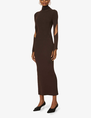 Thierry Mugler Turtleneck ribbed stretch-jersey maxi dress