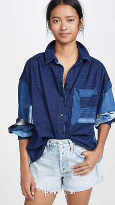 Free People Indigo Sky Button Down Shirt