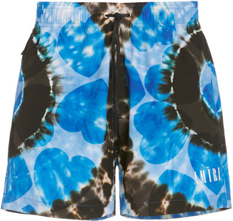 Amiri Hearts Tie-Dye Printed Swim Shorts