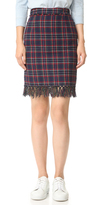 Sjyp Fringe Trim Plaid Check Skirt