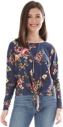 Iz Byer Juniors' Floral Print Pullover Top