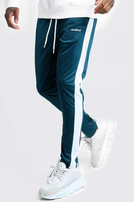 boohoo MAN Official Tricot Joggers With Side Tape