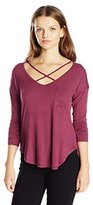 Self Esteem Women's Long Sleeve Drop Shoulder Top with Front Pocket