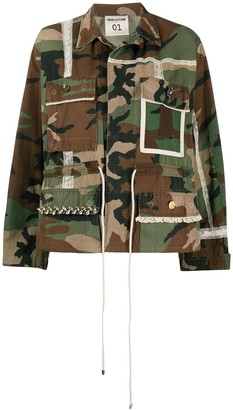 Semi-Couture Camouflage Print Jacket
