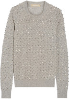 Michael Kors Crystal-embellished Cashmere Sweater - Gray