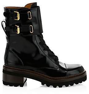 See by Chloe Women's Mallory Leather Combat Boots