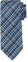 Neiman Marcus Boxed Plaid Silk Tie, Navy
