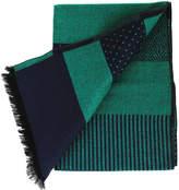 Rodier Men's Green/Navy Striped Wool Scarf