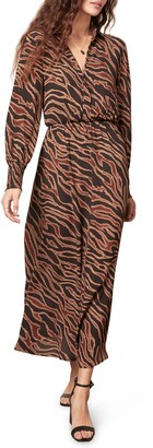 BB Dakota Word on the Street Animal Print Long Sleeve Dress