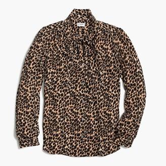 J.Crew Long-sleeve leopard drapey tie-neck top
