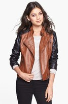 Dollhouse Two-Tone Faux Leather Moto Jacket (Juniors) (Online Only)