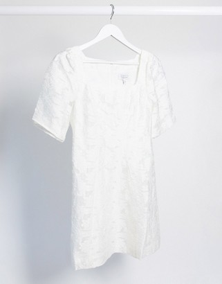 And other stories & square neck lace mini dress in white