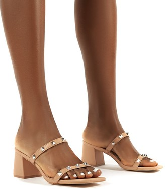 Public Desire Uk Forever Square Toe Studded Strap PU Block Heel Mule Sandals