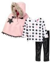 Betsey Johnson Star Print Tee, Faux Fur Trimmed Cape & Pleather Legging Set (Baby Girls)