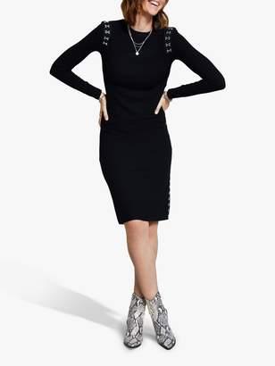 Harpenne Hook & Eye Rib Jersey Midi Dress, Black