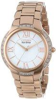 Citizen Women's EM0093-59A Ciena Eco-Drive Rose Gold-Tone Watch with Link Bracelet