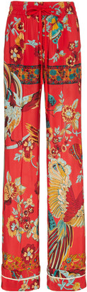 RED Valentino Floral-Print Crepe De Chine Flared Pants