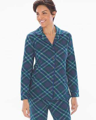 Soma Intimates Embraceable Long Sleeve Notch Collar Pajama Top Modern Plaid Deep Teal
