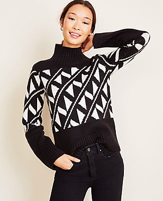 Ann Taylor Petite Abstract Jacquard Turtleneck Sweater