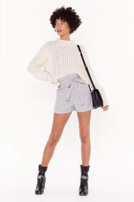 Nasty Gal Womens Sound Check High-Waisted Paperbag Shorts - grey - 8