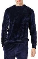 Topman Men's Piped Velour Sweatshirt