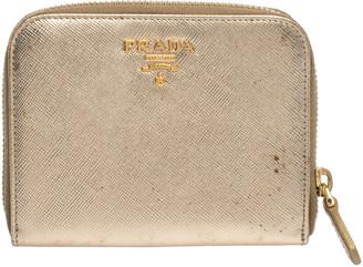 Prada Gold Saffiano Metal Leather Zip Around Compact Wallet