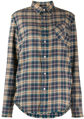 R 13 Long Sleeve Plaid Pattern Shirt