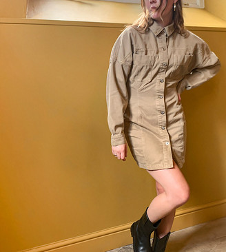 Collusion denim corset dress in tan