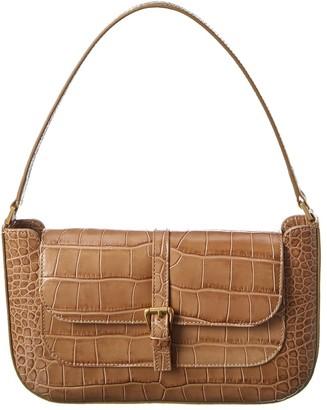 BY FAR Miranda Croc-Embossed Leather Shoulder Bag