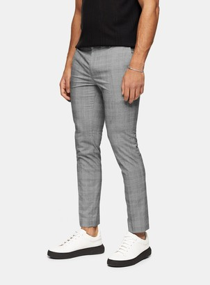 Topman Grey And Green Check Smart Joggers