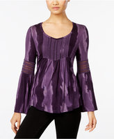 Style&Co. Style & Co. Lantern-Sleeve Crochet-Trim Top, Only at Macy's