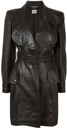 Chanel Pre Owned Notched Belted Midi Coat