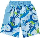 I Play Pocket Trunks With Built-in Swim Diaper (Baby) - Blue Turtle Batik - 12 Months