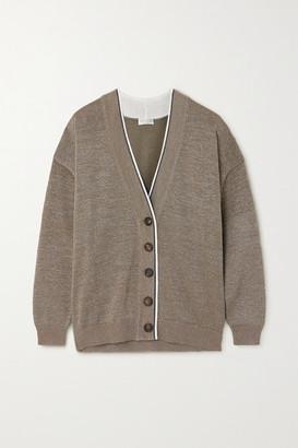 Brunello Cucinelli Bead-embellished Metallic Cotton-blend Cardigan - Brown
