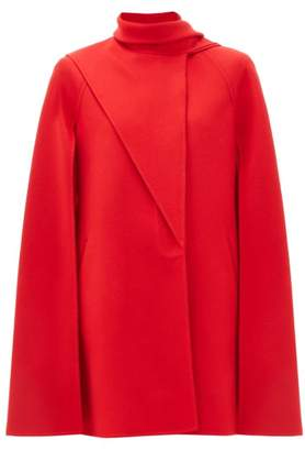 Valentino Asymmetric Fold Wool Blend Cape - Womens - Red
