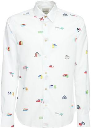 Paul Smith Printed Slim Cotton Poplin Shirt