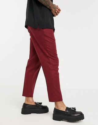 ASOS DESIGN tapered crop smart trousers in textured wool mix burgundy