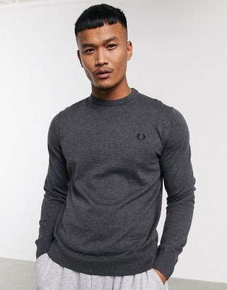 Fred Perry classic cotton crew neck sweater in charcoal