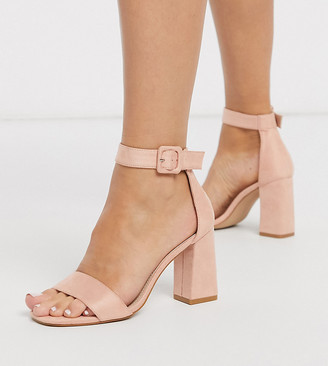 Dakota RAID Wide Fit square toe block heeled sandals in blush