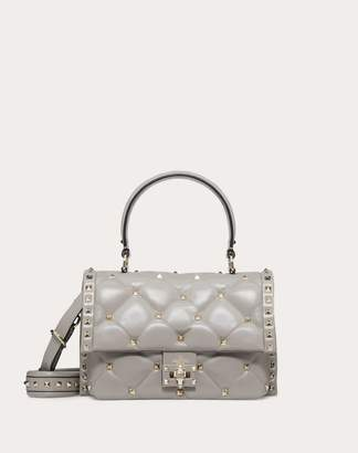 Valentino Garavani Medium Candystud Top-handle Bag Women Pastel Grey Lambskin 100% OneSize