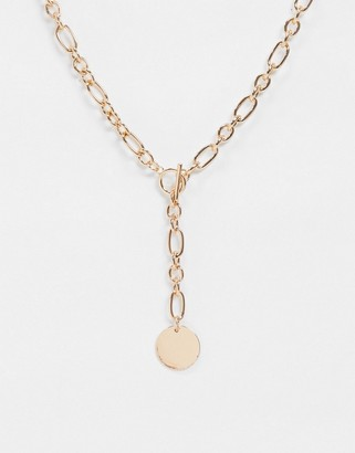 ASOS DESIGN t bar necklace with lariat and coin pendant in gold tone