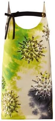 Prada Crystal Embellished Tie Dye Mini Dress - Womens - Black Green