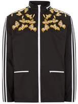 Topman Black Embroidered Track Jacket