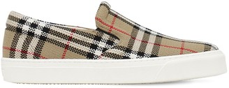 Burberry Thompson Check Canvas Slip-On Sneakers